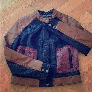 Anthropologie faux leather bomber jacket